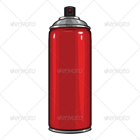 GraphicRiver Vector Cartoon Aerosol Sprays with Red Paint 5751621