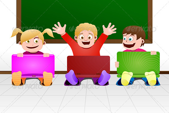 GraphicRiver Children with Laptop in Classroom 5751759
