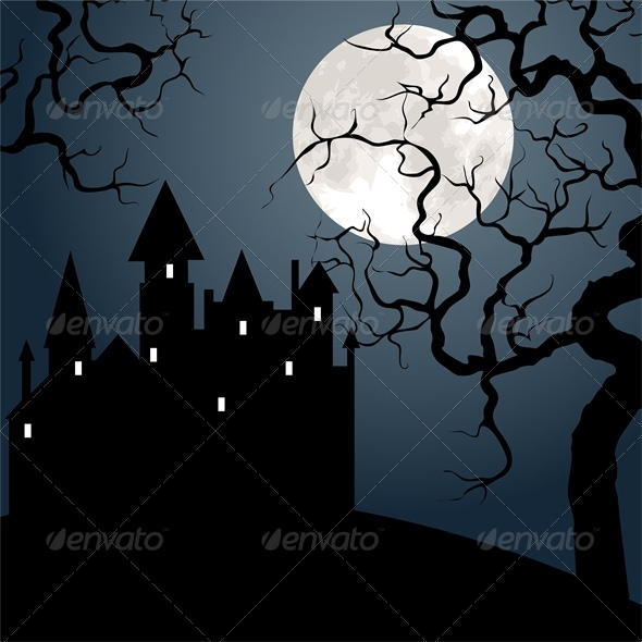 GraphicRiver Halloween Landscape with Castle Tree and Moon 5753090
