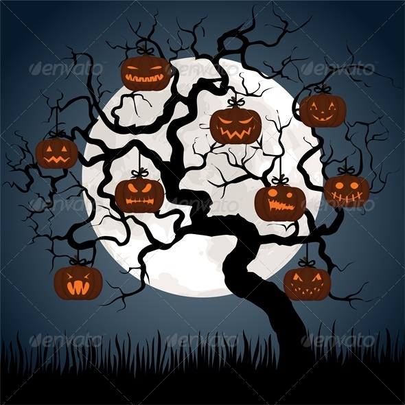 GraphicRiver Halloween Card with Pumpkins Hanging on Tree 5753100