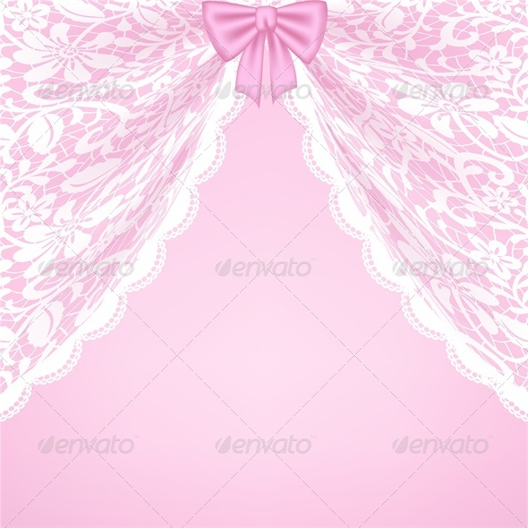 GraphicRiver Lace Curtains and Bow 5753142