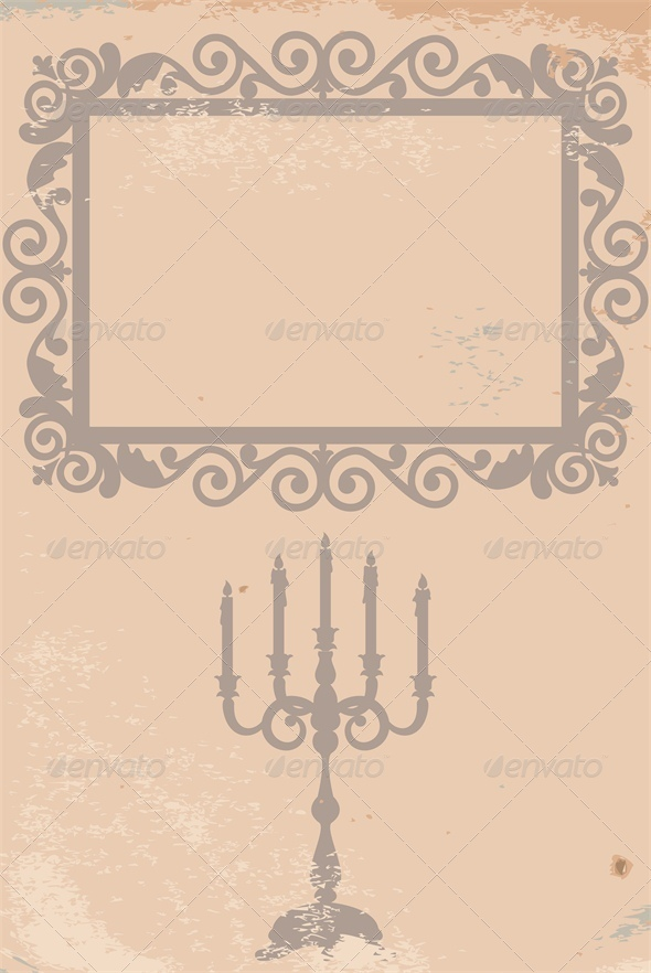 GraphicRiver Vintage Card with Frame and Candlestick 5753152