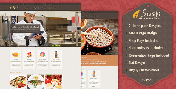 Restaurant and Food Business PSD theme is a slick and highly customisable; Made for hotels, bar, cafe, bakery and anything alike. Sushi can quickly be turned in