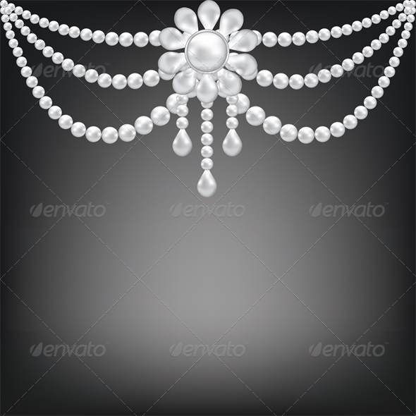 Black Background with Pearl Brooch Decoration