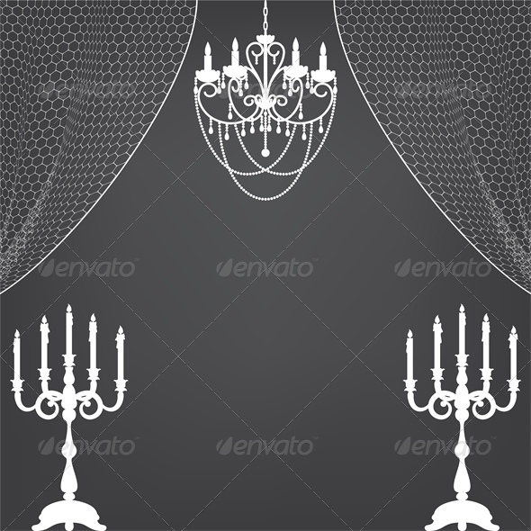 Vintage Interior with Candlestick and Chandelier