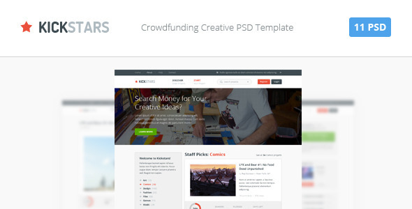 What is Kickstars? Kickstars is a PSD template for a website which allows online sales of small stock to a huge pool of investors. This is very popular kind of
