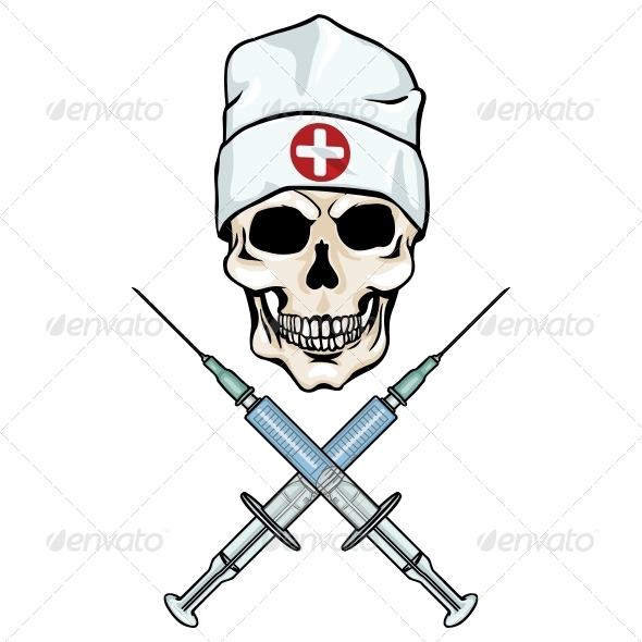 GraphicRiver Skull Doctor and Crossed Syring 5755917
