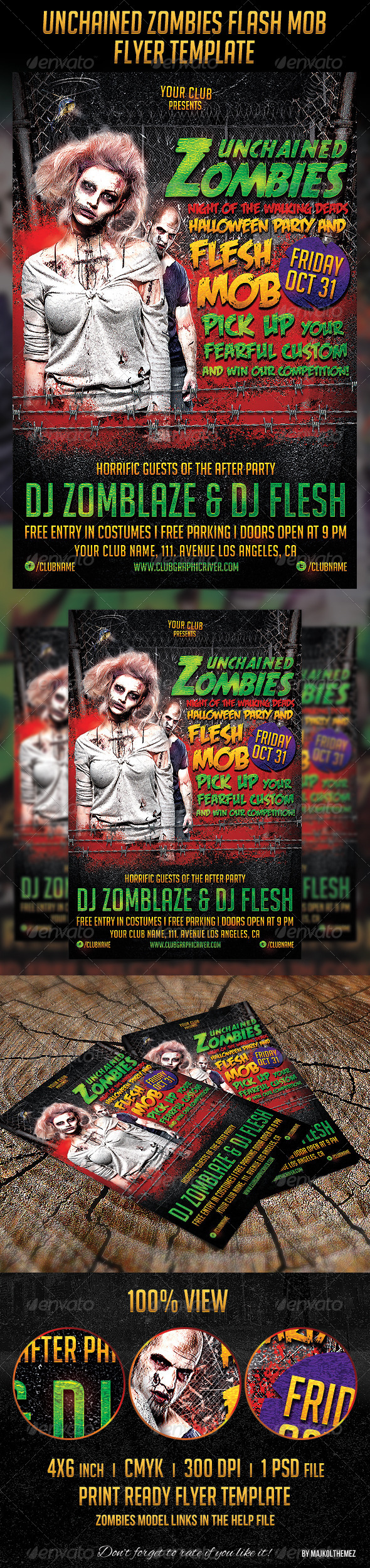 GraphicRiver Unchained Zombies Flash Mob Party Flyer 5755920