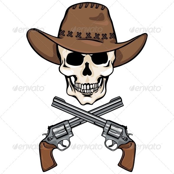 GraphicRiver Skull Cowboy and Crossed Revolvers 5755924