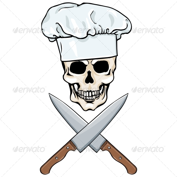 GraphicRiver Skull Chef and Crossed Knives 5755927