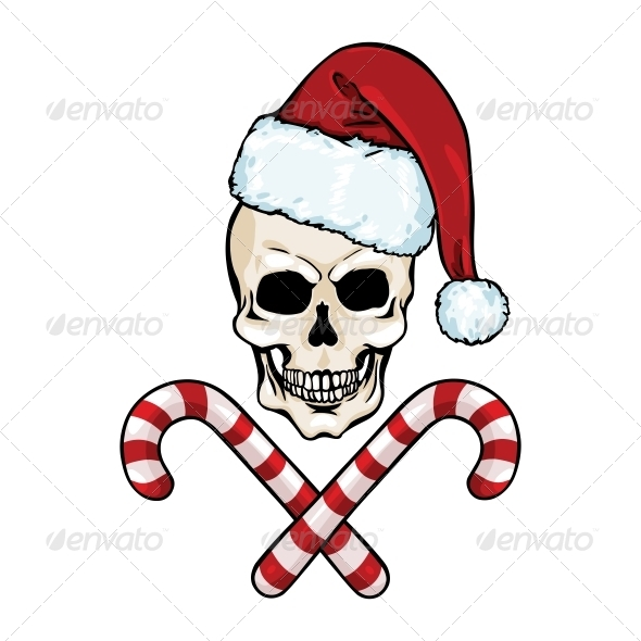 GraphicRiver Christmas Skull and Crossed Candy Canes 5755945
