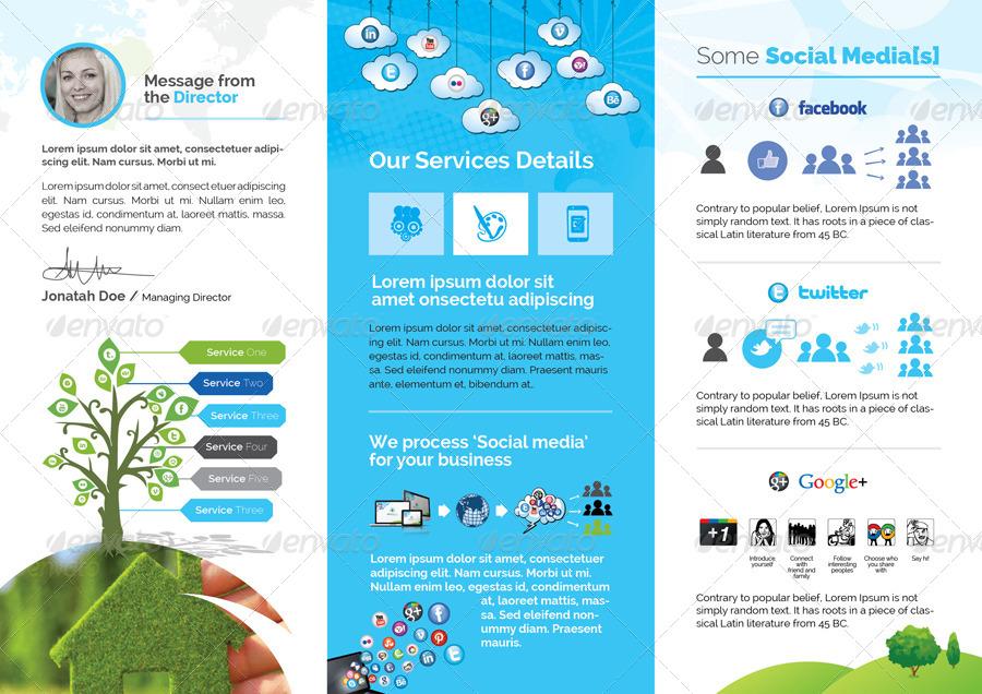Professional Brochure Templates Multipurpose Trifold Business