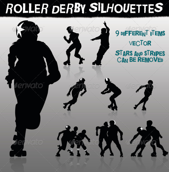 GraphicRiver Roller Derby Silhouettes 5756309
