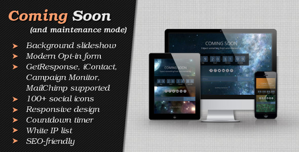 "Modern and responsive ""Coming Soon"" and ""Maintenance Mode"" page with full-sized background image slideshow, countdown timer, 100+ social"