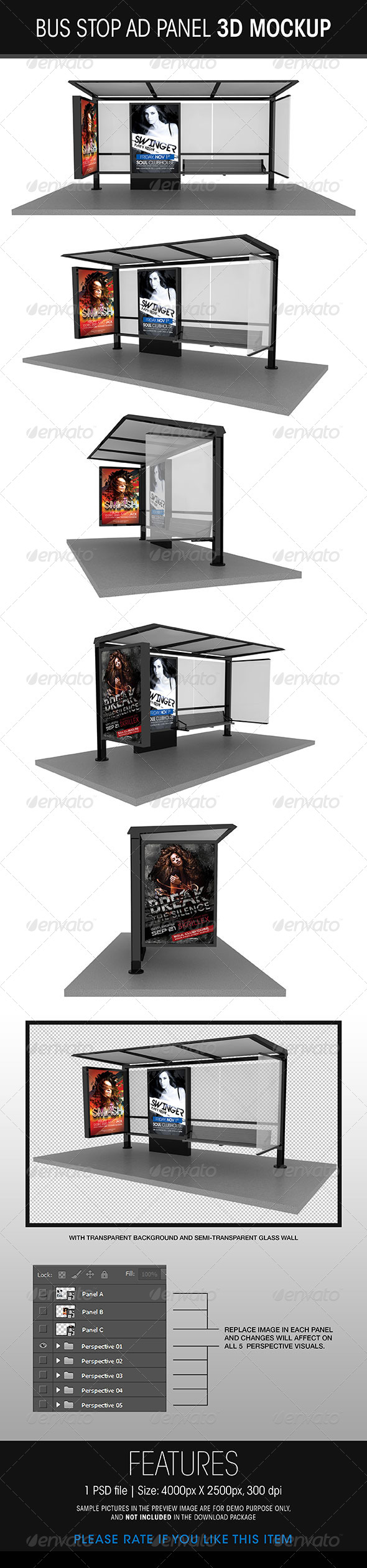 GraphicRiver Bus Stop Ad Panel 3D Mockup 5756973