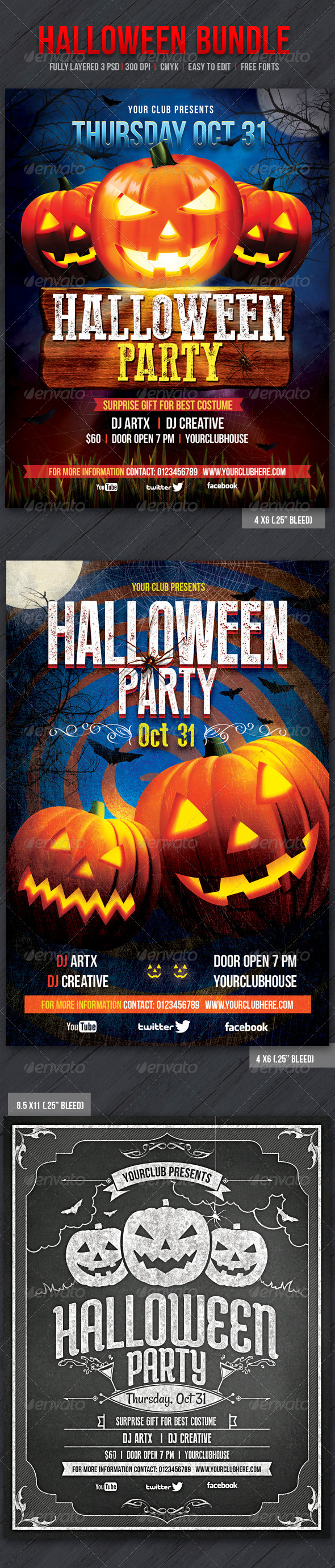 Halloween Bundle - Events Flyers