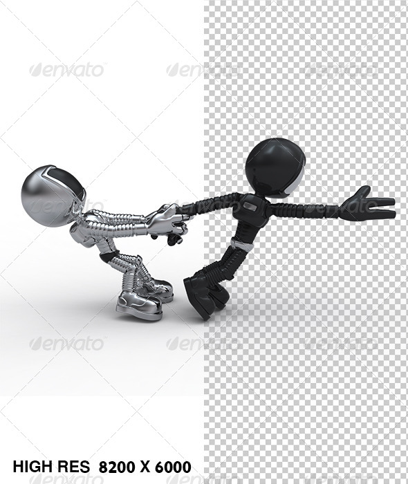 GraphicRiver Golden Guy Character Pull Escaping Astraunt 5758350