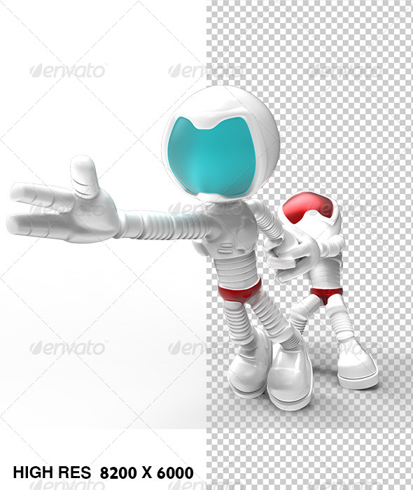 White 3D Guy Character Try Pull Escaping Astronaut