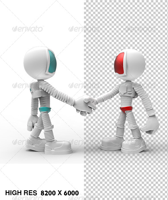 White 3D Guy Character Hand Shake With Friend