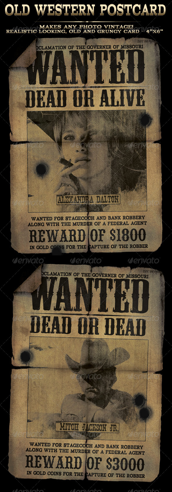GraphicRiver Easy to use Old Western Wanted Postcard in 4x6 5759074