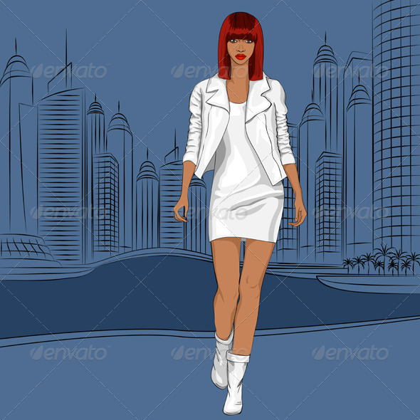 GraphicRiver Black Girl Walks in the City 5759206