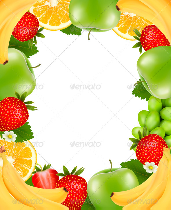 GraphicRiver Frame Made of Fresh Juicy Fruit Vector 5742026