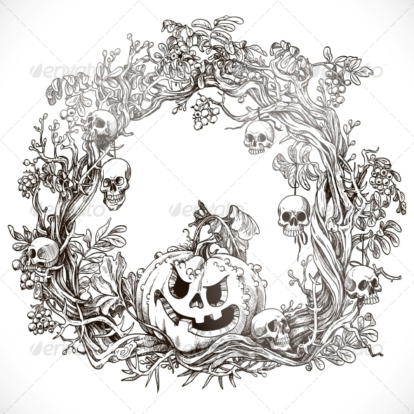 GraphicRiver Festive Decorative Halloween Wreath 5759427