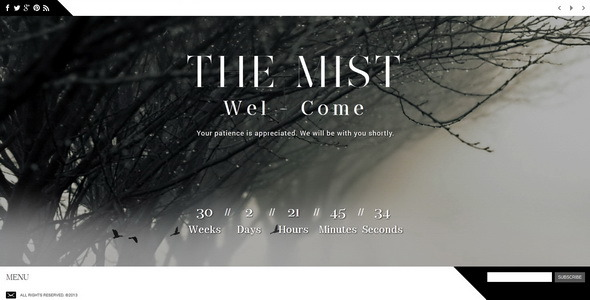The Mist || Responsive Coming Soon Page
