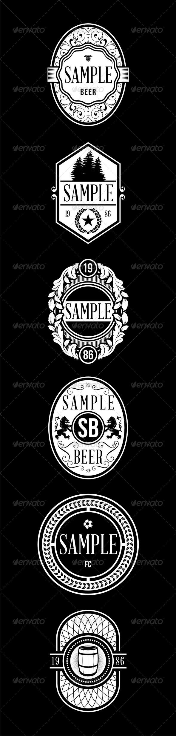 6 Vintage Badges