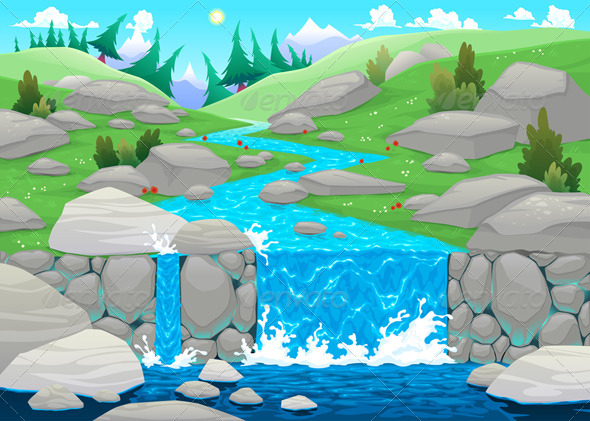 GraphicRiver Mountain Landscape with River 5761534