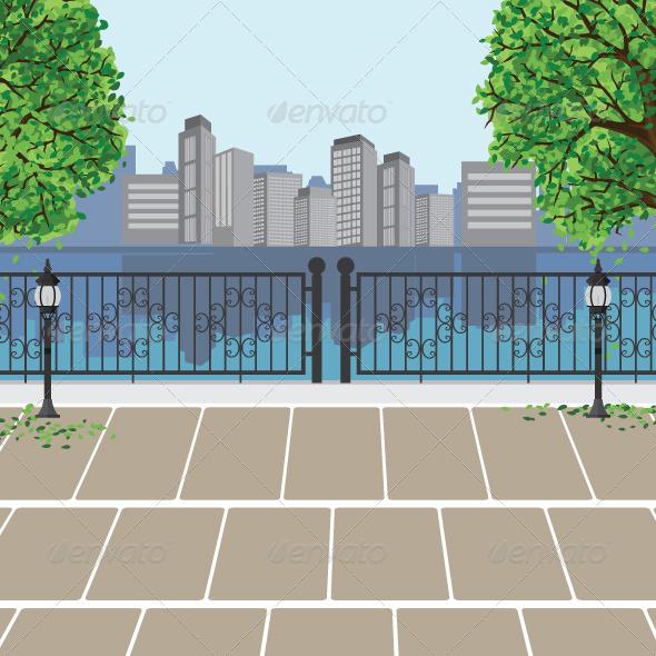 GraphicRiver City View at Public Park 5764878