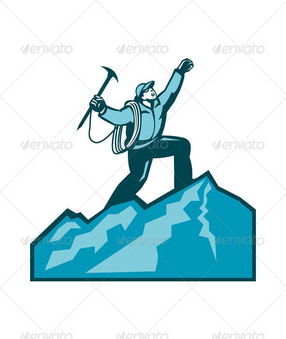 GraphicRiver Mountain Climber Summit Retro 5764924