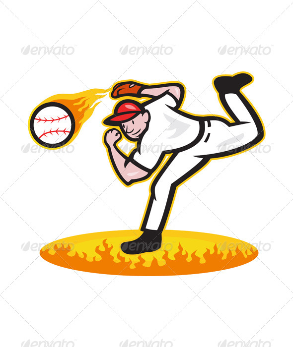 GraphicRiver Baseball Pitcher Throwing Ball on Fire 5764979