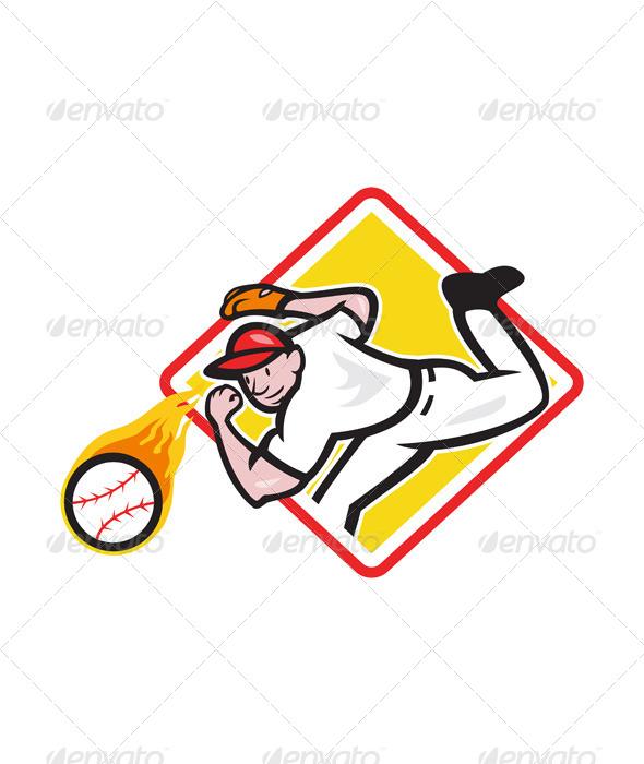 GraphicRiver Baseball Pitcher Throwing Fire Ball Diamond 5765003