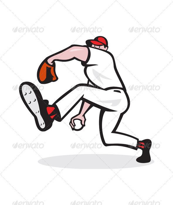 GraphicRiver Baseball Pitcher Throwing Ball Cartoon 5765053