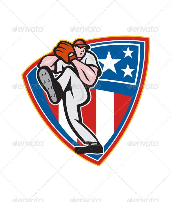 GraphicRiver American Baseball Pitcher Shield 5765072