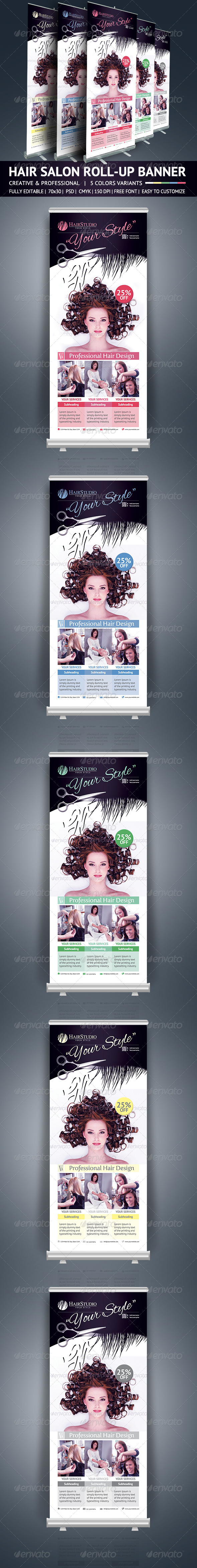 GraphicRiver Hair Salon Roll Up Banner 5765657
