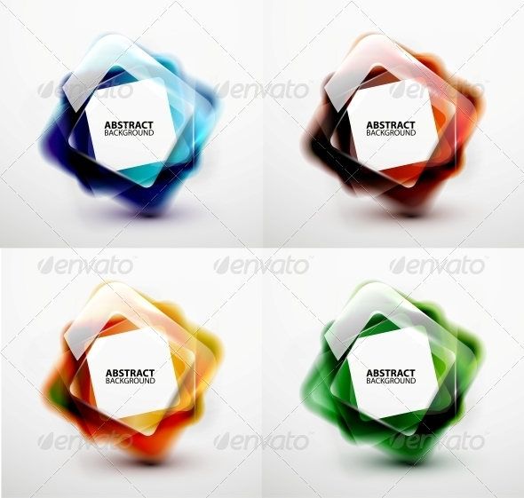 GraphicRiver Glossy and Blurred Square Vector Banners Templates 5765804