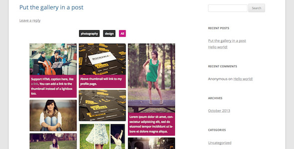A plugin help you to add Pinterest style responsive grid gallery to your post or page via shortcode in a few seconds. The plugin support batch upload in the bac