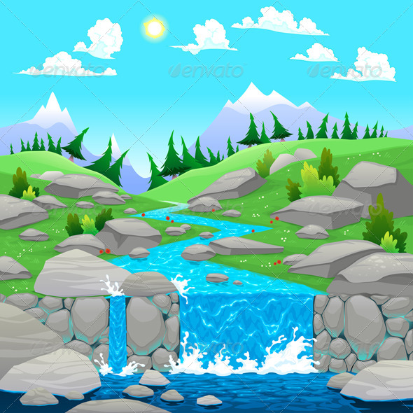 GraphicRiver Mountain Landscape with River 5766730