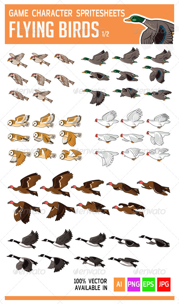 GraphicRiver Flying Bird Game Character Sprite 5766745