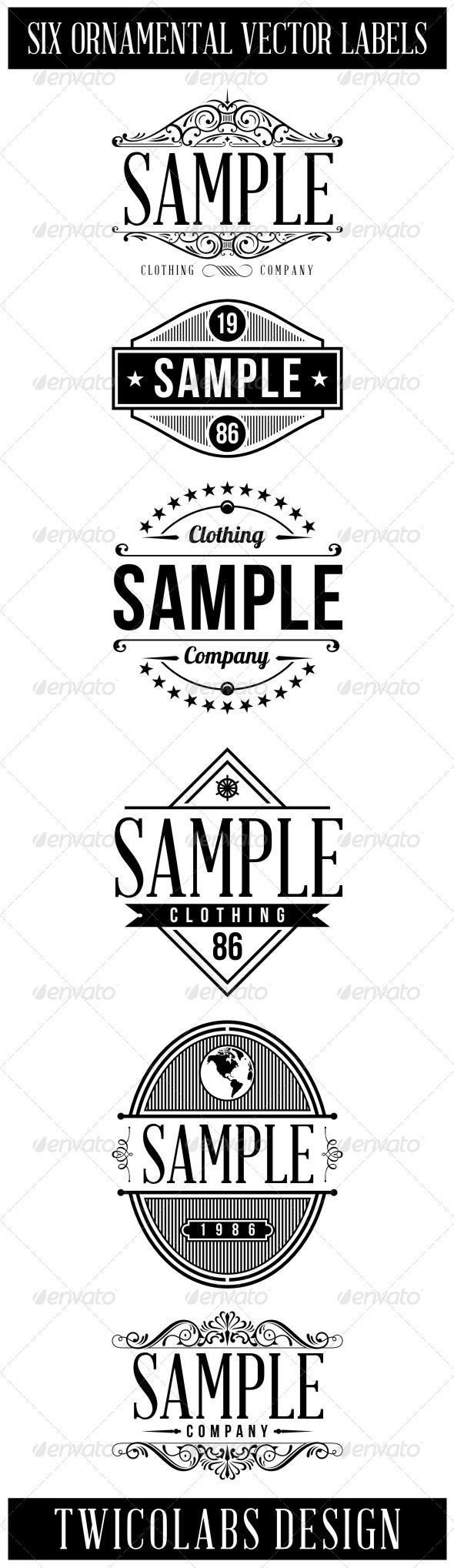 GraphicRiver 6 Vintage Labels 5767148