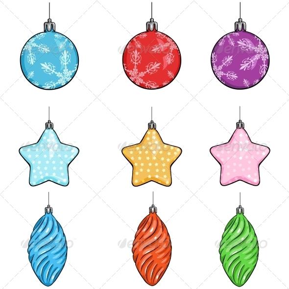 Vector Set of Christmas Decorations - Balls, Stars