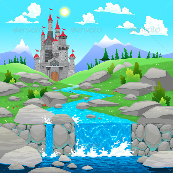 GraphicRiver Mountain Landscape with River and Castle 5767762