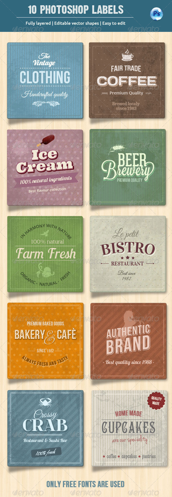 GraphicRiver 10 Retro Labels Badges 5767796