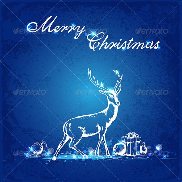 GraphicRiver Blue Christmas Background 5767804