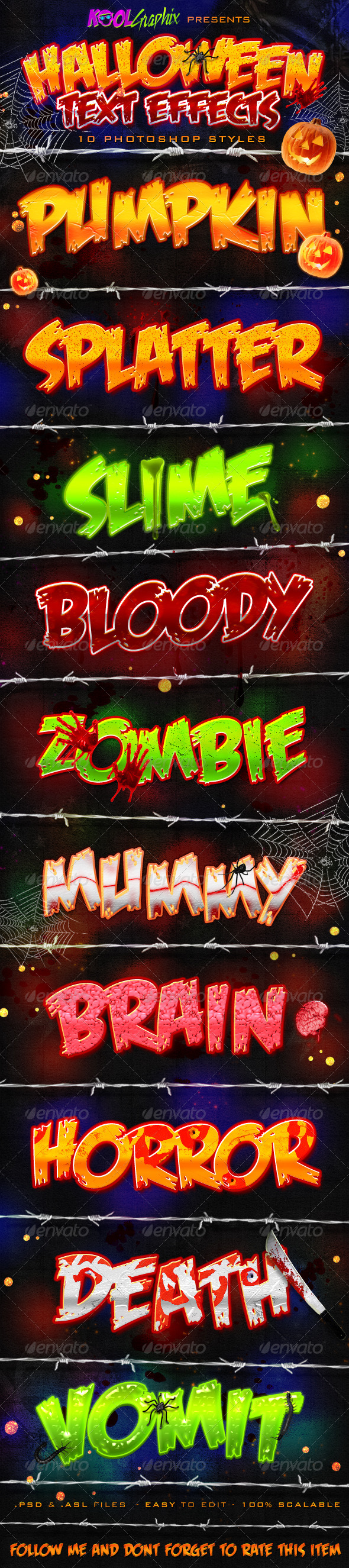 Halloween Text Effects - PS Styles - Text Effects Styles
