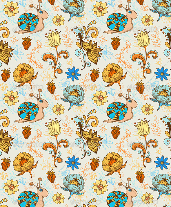 GraphicRiver Seamless Pattern with Snail 5767936