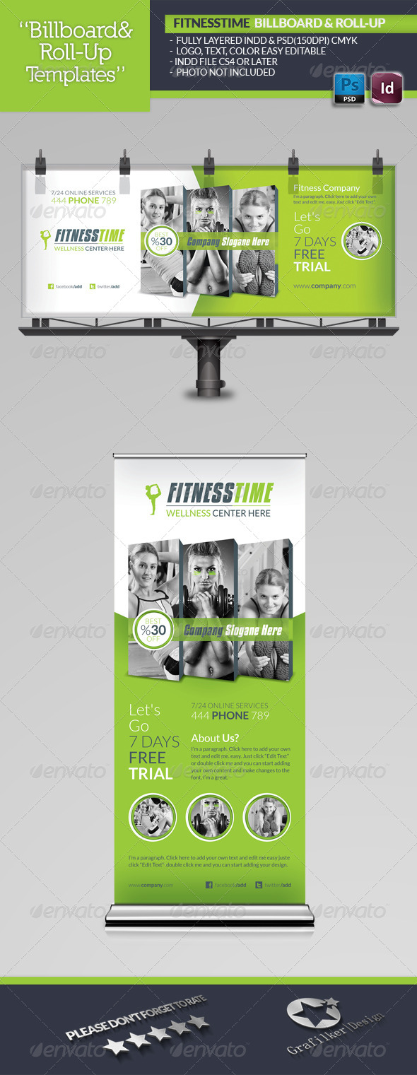GraphicRiver Fitness Time Billboard Roll-Up Template 5715536