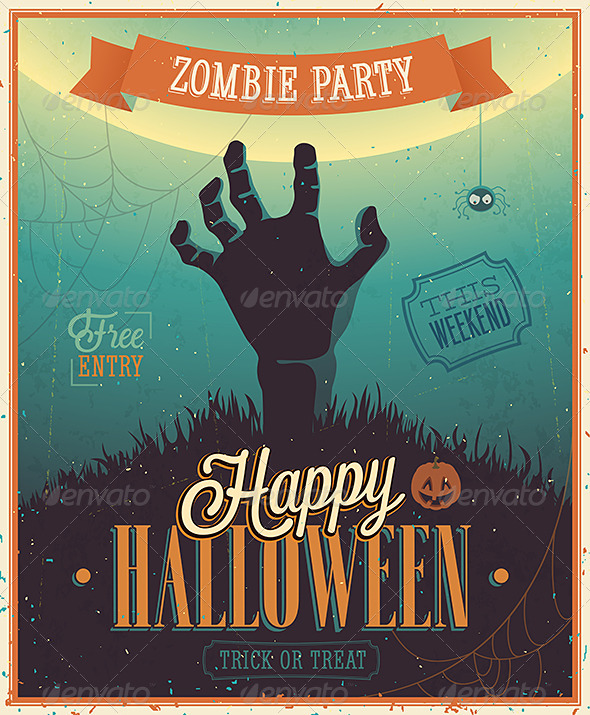 GraphicRiver Halloween Zombie Party Poster 5539120